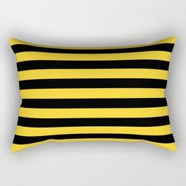 Yellow and Black Honey Bee Horizontal Beach Hut Stripes Rectangular Pillow