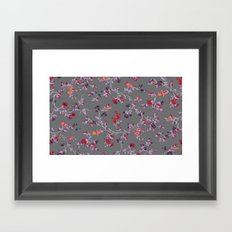 floral vines - dark grey and lilacs Framed Art Print