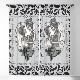 Skeleton Couple Marriage Dance Blackout Curtain