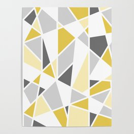 Geometric Pattern in yellow and gray Poster