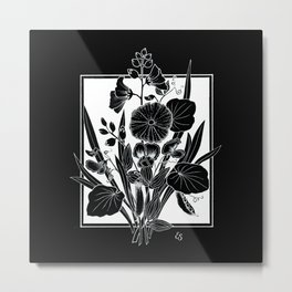 Black Bouquet Metal Print