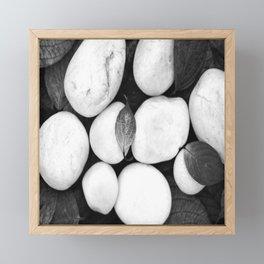 Zen White Stones On A Black Background #decor #society6 #buyart Framed Mini Art Print