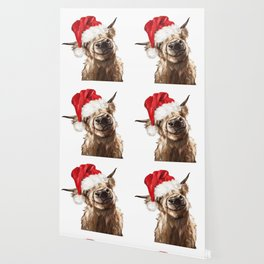 Christmas Highland Cow Wallpaper