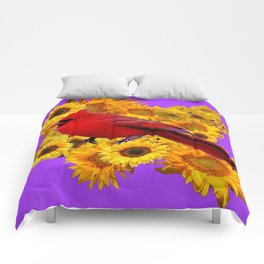 RED CARDINAL & YELLOW SUNFLOWERS PANTENE PURPLE Comforters