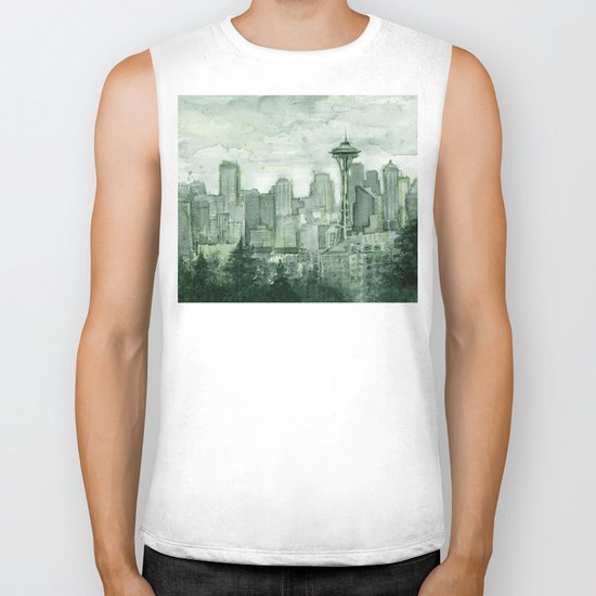 Seattle Skyline Watercolor Space Needle Emerald City 12th Man Art Biker Tank