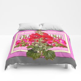 MODERN ART RED & PINK  HOLLYHOCKS BOTANICAL  PATTERNS Comforters