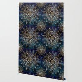 Elegant Gold Mandala Blue Galaxy Design Wallpaper