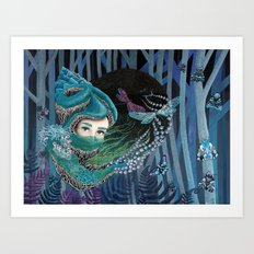 Forest eyes Art Print