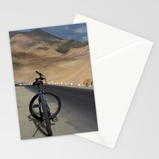 Mountain Biking down from Khardung La Stationery Cards