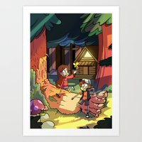 gravity falls Art Prints featuring Gravity Falls by Izzy
