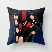 roller derby Throw Pillows featuring Roller derby x by Andrew Mark Hunter
