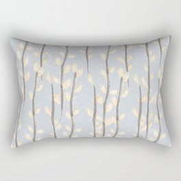 Pussy Willow Branches on Soft Grey Rectangular Pillow