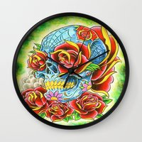 tatoo Wall Clocks featuring Tatoo ART 6 by The Greedy Fox