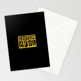 CAUTION AFOL ADULT FAN OF LEGO by Chillee Wilson [from Customize My Minifig] Stationery Cards