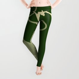 Floral Pattern | Subtle Green on Forest Green Leggings