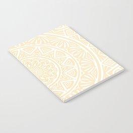 Pale Yellow Simple Simplistic Mandala Design Ethnic Tribal Pattern Notebook