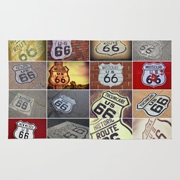 Historic U.S. old Route 66 signs. Rug