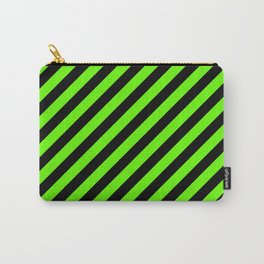 Bright Green and Black Diagonal RTL Stripes Carry-All Pouch