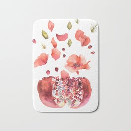 My heart is full of flowers / pomegranate and poppies Bath Mat