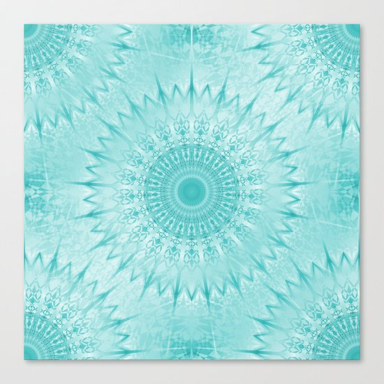 Turquoise Metallic Mandala Canvas Print