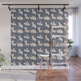 Cute pink brown blue hand painted floral cats Wall Mural