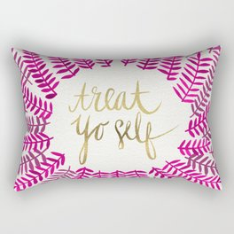 Treat Yo Self – Pink & Gold Rectangular Pillow