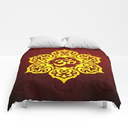 Vintage Scratched Yellow and Red Lotus Flower Yoga Om Comforters
