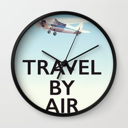 Travel By Air travel poster Wall Clock