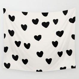 Big Hearts Brush Strokes Pattern Wall Tapestry