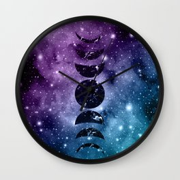 Purple Teal Galaxy Nebula Dream Moon Phases #1 #decor #art #society6 Wall Clock