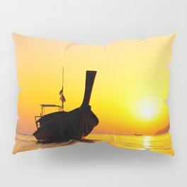 Long tail boat at the beach Pillow Sham