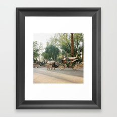 caleche / horse carriage in Marrakech Framed Art Print