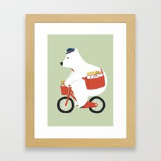 Polar bear postal express Framed Art Print