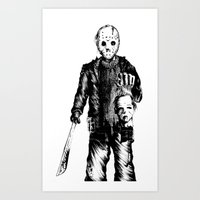 michael myers Art Prints featuring Jason VS Michael Myers by Oscars Moreno®