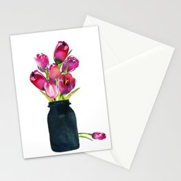 Red Tulips in Mason Jar Stationery Cards