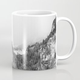 Black and White Neuschwanstein Castle in Winter Coffee Mug