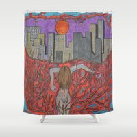 sin city Shower Curtains featuring Sin Beneath the City by Labartwurx