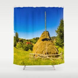 Haystack in the Carpathians of Romania Shower Curtain