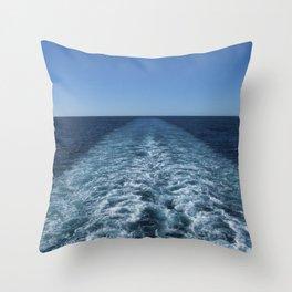 SEA BLUE WAKE AND HORIZON - Pacific Ocean Throw Pillow