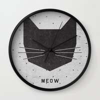 grey Wall Clocks featuring MEOW by Wesley Bird