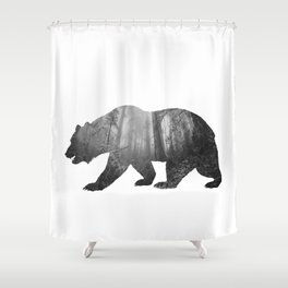 Bear Silhouette | Forest Photography Shower Curtain