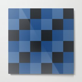 Classic Checker Pattern Black Blue - Marabbecca Metal Print