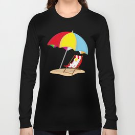 Space Odyssey | Astronaut Lounging at the Beach | Sea Side | Space | Umbrella | pulps of wood Long Sleeve T-shirt