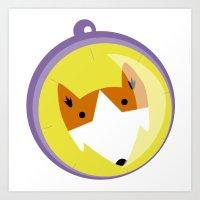 Compass fox Art Print
