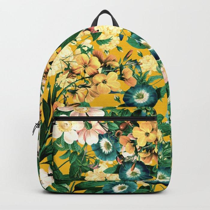 Tangerine Floral Pattern Vintage Backpack