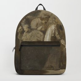 Rembrandt - Joseph Telling his Dreams to his Parents and Brothers Backpack