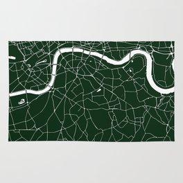 Green on White London Street Map Rug