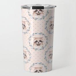 Raccoon and floral wreath Travel Mug