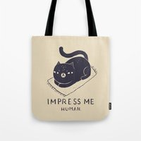 louis Tote Bags featuring impress me by Louis Roskosch
