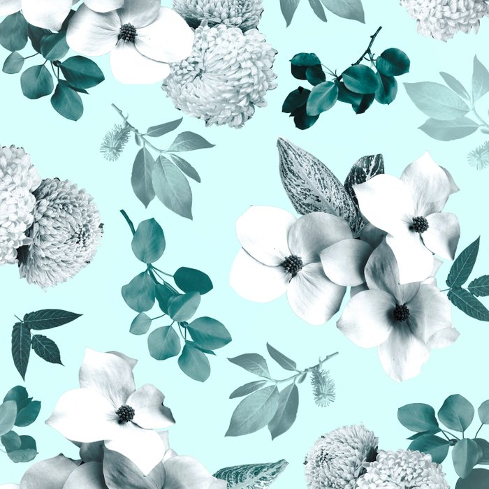 Night bloom - moonlit mint Duvet Cover